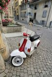 Scooter in old city, Estavayer-le-lac, Switzerland Stock Photo