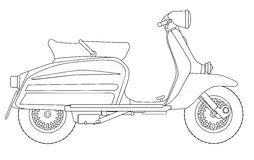 Scooter Outline Drawing. A typical 1960 style motor scooter in outline drawing over white stock illustration