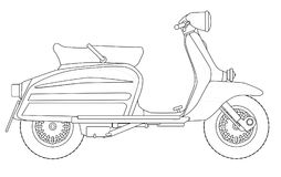 Scooter Outline Drawing On White. A typical 1960 style motor scooter in outline drawing over white stock illustration