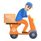 Scooter parcel delivery icon, cartoon style royalty free illustration