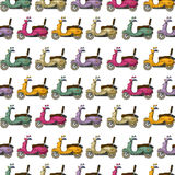 Scooter pattern. Cartoon style scooter seamless pattern in colors Royalty Free Stock Photo