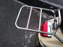 Scooter rear rack. Italian scooter chrome rear rack Stock Image