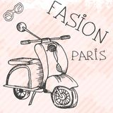 Scooter retro hand drawn design card Royalty Free Stock Photography