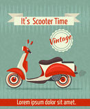 Scooter retro poster. Scooter motorbike retro vintage transport sport paper poster with ribbon vector illustration vector illustration
