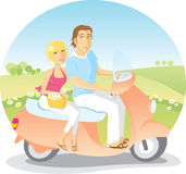 Scooter Ride in the Country. Enjoy the flowers in nature in green scooter Stock Image