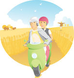 Scooter Ride in the Country royalty free illustration