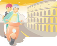 Scooter Ride in the Rome Stock Photos