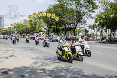 Scooter riders Ho Chi Minh, Vietnam Royalty Free Stock Photos