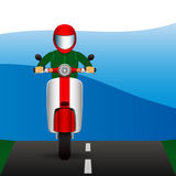Scooter rides along on asphalt road. Vector illustrations Stock Photos