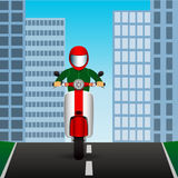 Scooter rides on an asphalt road in the middle of the city. Vector Image. Scooter rides on asphalt road in middle of city. Vector Image Royalty Free Stock Image