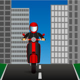 Scooter rides on an asphalt road in the middle of the city. Vector Image. Scooter rides on asphalt road in middle of city. Vector Image Stock Photo