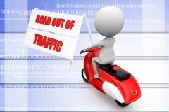 Scooter with road out of traffic illustration Stock Images