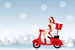 Scooter santa girl Stock Image