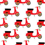 Scooter seamless pattern. Cartoon scooter illustration on white background. Royalty Free Stock Photography