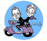 Scooter and Senior Old Couple Cartoon Royalty Free Stock Photos