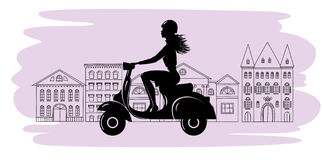 Scooter silhouette Royalty Free Stock Photos