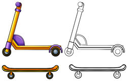 Scooter and skateboard Stock Image