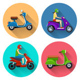 Scooter transport flat icons Royalty Free Stock Photos