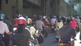 Scooter waterfall in Taiwan. Traffic jam crowded of motorcycles stock video