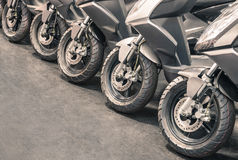 Scooter wheels lined up Stock Image