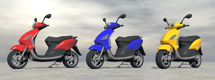 Scooters - 3D Render Royalty Free Stock Images