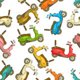 Scooters cartoon pattern Royalty Free Stock Photo