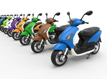 Scooters diversity concept. 3D rendered illustration for the concept of diversity. The composition uses multiple colored scooters arranged in a line and  on a Royalty Free Stock Images