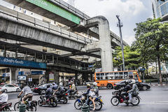 Scooters in downtown Bangkok Royalty Free Stock Photography
