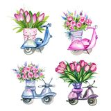 Scooters with Flowers Royalty Free Stock Photo