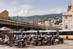 The scooters and motorbikes parking in Genoa, Italy royalty free stock photography