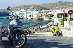 Scooters in mykonos Royalty Free Stock Images