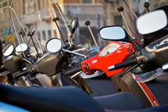 Scooters parked on a street in Verona, Italy. Horizontal shot. Stock Photography