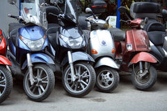 Scooters parking stock photo