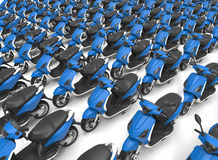 Scooters parking lot concept. 3D rendered illustration of endless scooters arranged in a rectangular pattern. The scooters are isolated on a white background Stock Photo