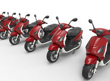 Scooters for rent concept. 3D rendered illustration of multiple new scooters arranged in a row. The composition is isolated on a white background with shadows Stock Photos