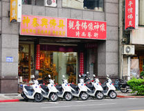 Scooters on street in Taipei Stock Photos