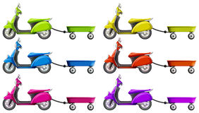 Scooters and wagon in different colors Royalty Free Stock Image