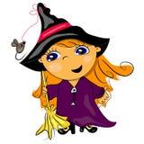 Scopa della holding della strega di Halloween Fotografia Stock