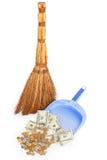 Scopa e soldi sulla paletta per la spazzatura lilla Fotografia Stock