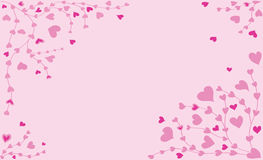 Scope from branches with little pink hearts Royalty Free Stock Photography