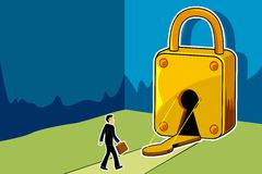 Scope for Business. Illustration of businessman entering into keyhole of padlock Stock Images