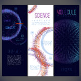 Scope consisting of lines of different color, molecules, viruses. Nanotechnology, cell science. Medical theme. Three banners for your design Stock Images