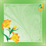 Scope with lilies on green. On a abstract background Stock Photography
