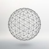 Scope of lines and dots. Ball of the lines. Connected to points. Molecular lattice. The structural grid of polygons. White background. The facility is located Royalty Free Stock Images