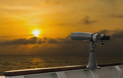 Scope on a Ship for the Lookout. During sunset hours Stock Photos