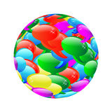 The scope of the web cloud. Abstract sphere consisting of a multi-colored clouds for web designers for different necessities on a white background Stock Image