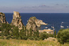Scopello ancient tuna trap on reserve of zingaro in sicily Royalty Free Stock Image