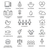 Scopi di sviluppo sostenibile e linea vivente sostenibile Art Vector Icons di concetto di implementazione Fotografia Stock Libera da Diritti