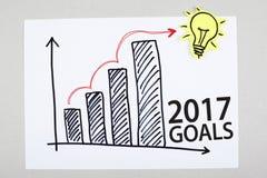 Scopi grafico di piano di crescita di 2017 nuovi anni Immagine Stock Libera da Diritti