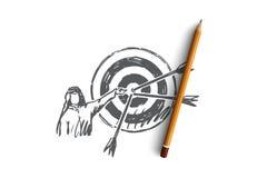Scopi, obiettivo, colpente, musulmano, concetto di raggiungimento Vettore isolato disegnato a mano illustrazione vettoriale